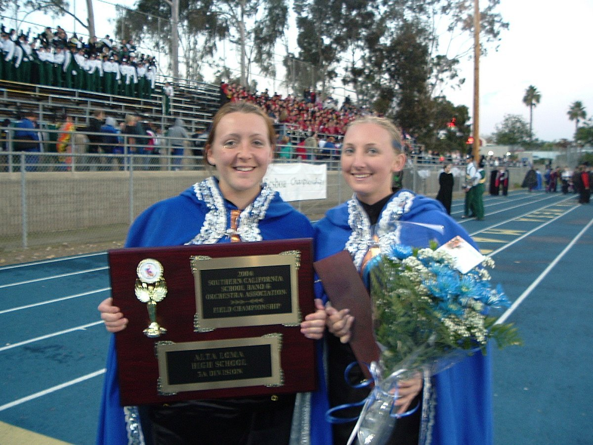 Drum Major Siobhan(left) and asst. DM Kim
